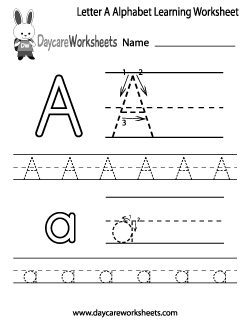 Preschool Letter A Alphabet Learning Worksheet