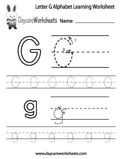 Preschool Letter G Alphabet Learning Worksheet
