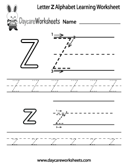 Preschool Letter Z Alphabet Learning Worksheet