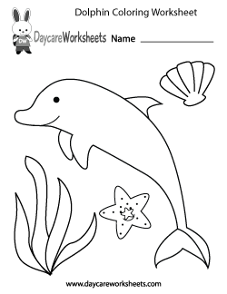 Preschool Dolphin Coloring Worksheet