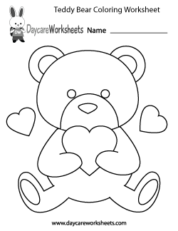 Preschool Teddy Bear Coloring Worksheet