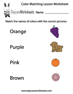 Preschool Color Matching Lesson Worksheet