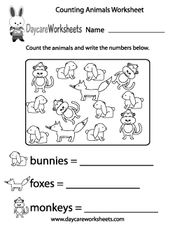 Preschool Counting Animals Worksheet