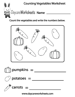 Preschool Counting Vegetables Worksheet