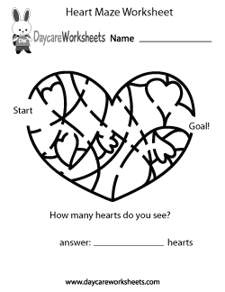 Preschool Heart Maze Worksheet