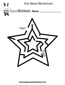 Preschool Star Maze Worksheet