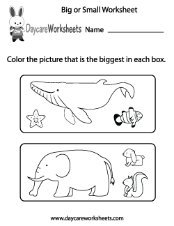 Preschool Big or Small Worksheet