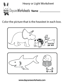 Preschool Heavy or Light Worksheet