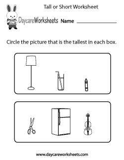 Preschool Tall or Short Worksheet