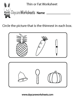 Preschool Thin or Fat Worksheet