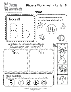 Preschool Beginning Sounds Letter B Phonics Worksheet