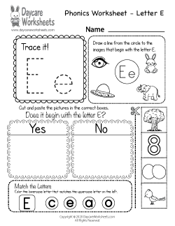 Preschool Beginning Sounds Letter E Phonics Worksheet