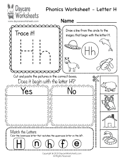 Preschool Beginning Sounds Letter H Phonics Worksheet