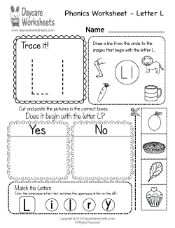 Preschool Beginning Sounds Letter L Phonics Worksheet
