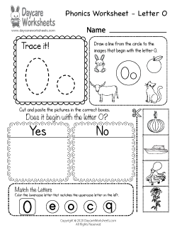 Preschool Beginning Sounds Letter O Phonics Worksheet