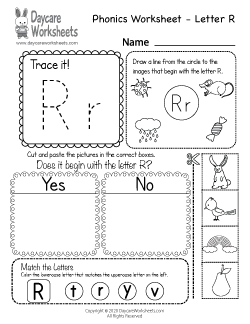 Preschool Beginning Sounds Letter R Phonics Worksheet