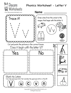 Preschool Beginning Sounds Letter V Phonics Worksheet