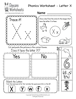Preschool Beginning Sounds Letter X Phonics Worksheet