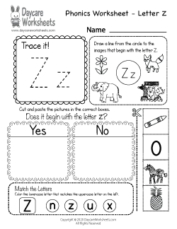 Preschool Beginning Sounds Letter Z Phonics Worksheet