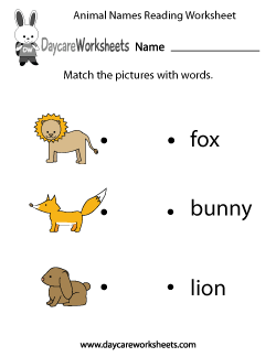 Preschool Animal Words Reading Worksheet