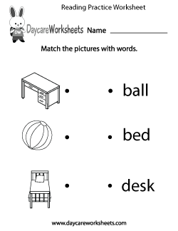 Preschool Reading Practice Worksheet