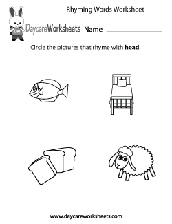 Preschool Rhyming Practice Worksheet