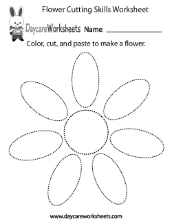 Preschool Flower Cutting Skills Worksheet