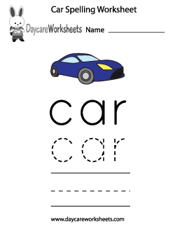 Preschool Car Spelling Worksheet