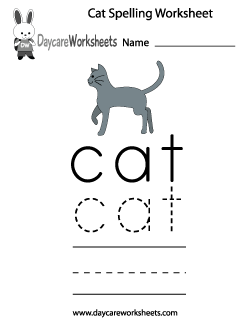 Preschool Cat Spelling Worksheet