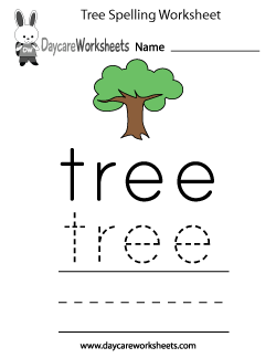 Preschool Tree Spelling Worksheet