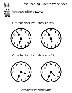 Preschool Time Reading Practice Worksheet