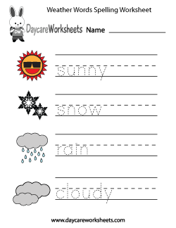 Preschool Weather Words Spelling Worksheet