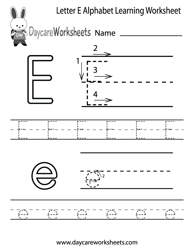 preschool letter e alphabet learning worksheet