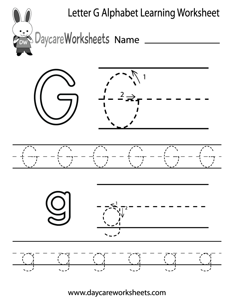 Preschool Letter G Alphabet Learning Worksheet Printable