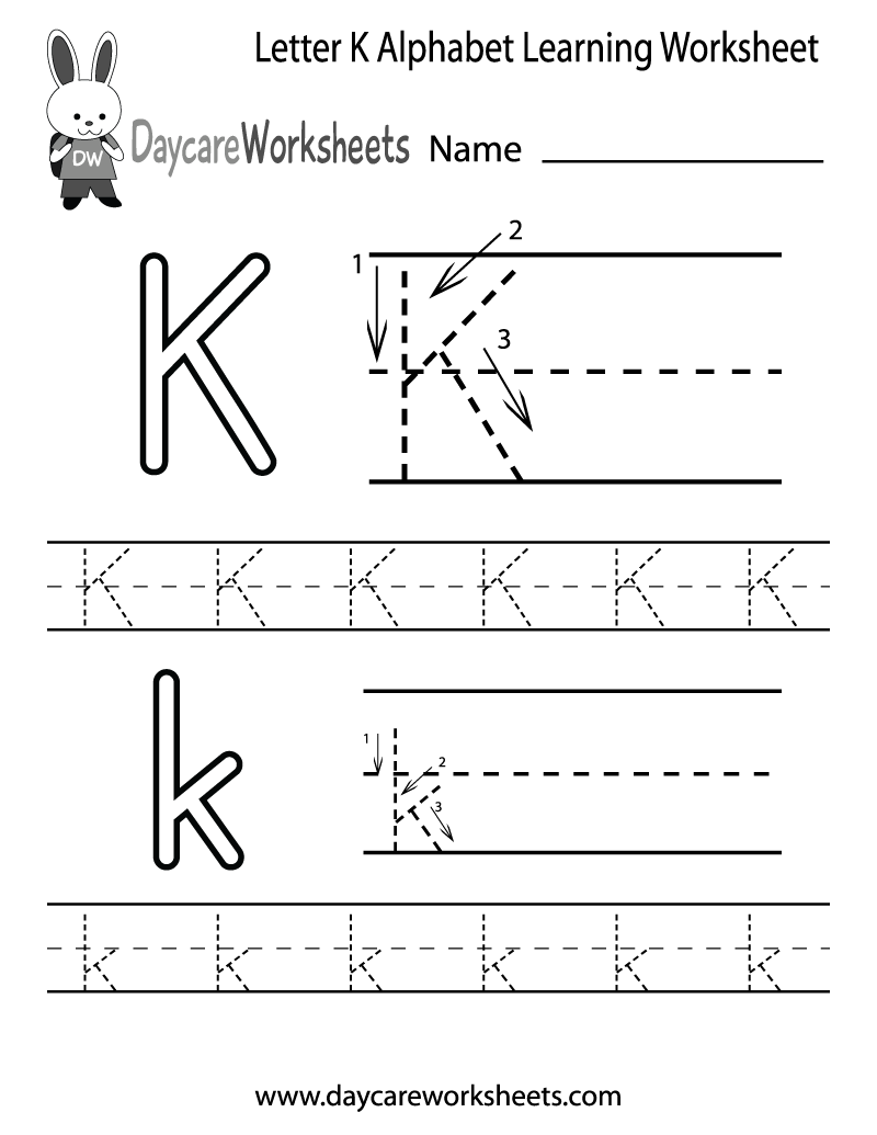 Preschool Letter K Alphabet Learning Worksheet Printable