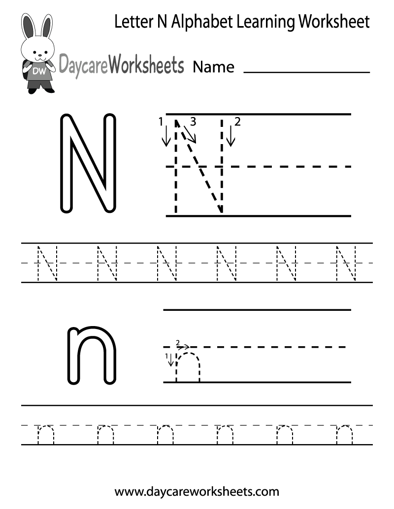 Preschool Letter N Alphabet Learning Worksheet Printable