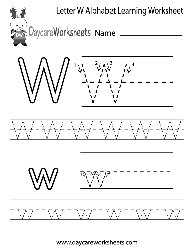 Free Printable Letter W Alphabet Learning Worksheet for Preschool