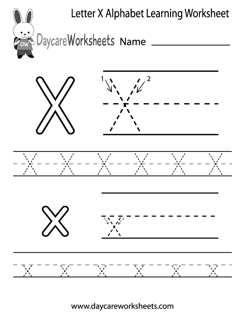 Preschool Letter X Alphabet Learning Worksheet Printable