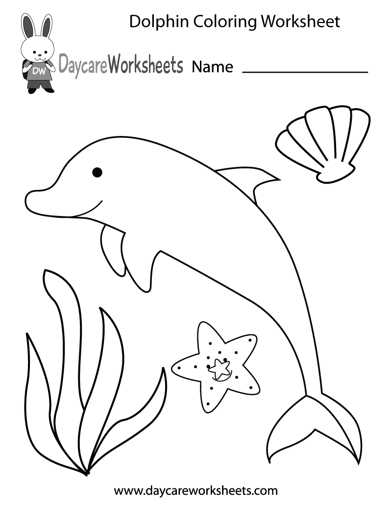 Free preschool dolphin coloring worksheet for Worksheet coloring pages