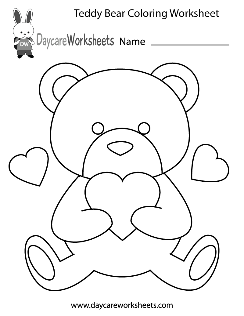 Free preschool teddy bear coloring worksheet for Worksheet coloring pages