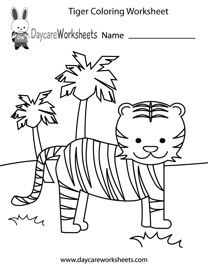 free preschool tiger coloring worksheet - Preschool Color Worksheets Free