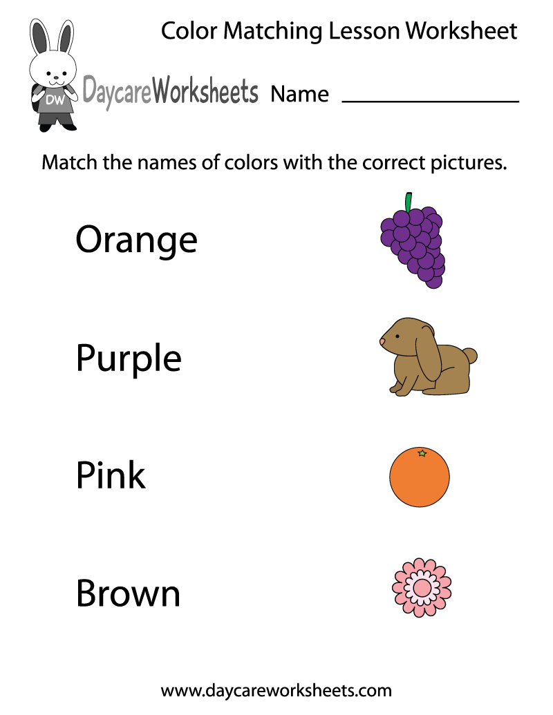 free preschool color matching lesson worksheet - Preschool Color Worksheets Free