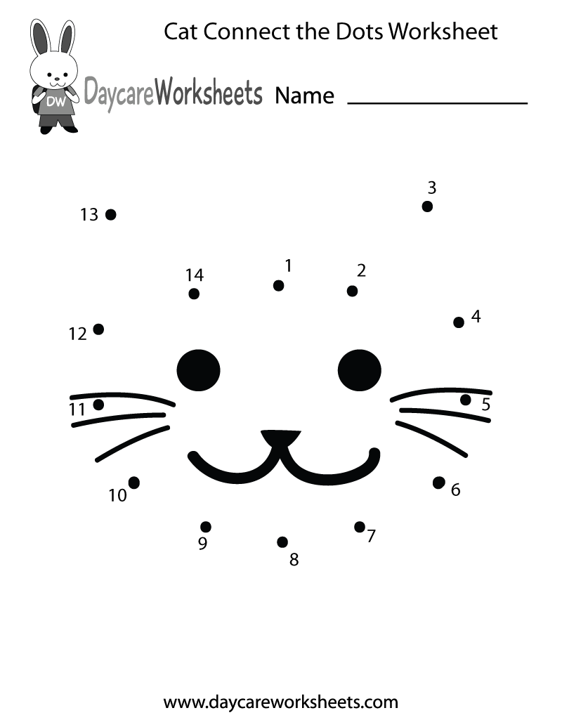 Free Preschool Cat Connect The Dots Worksheet