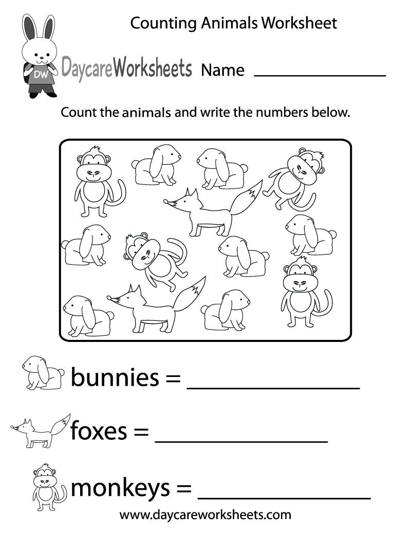 Free Counting Animals Worksheet for Preschool – Counting Worksheets for Preschool