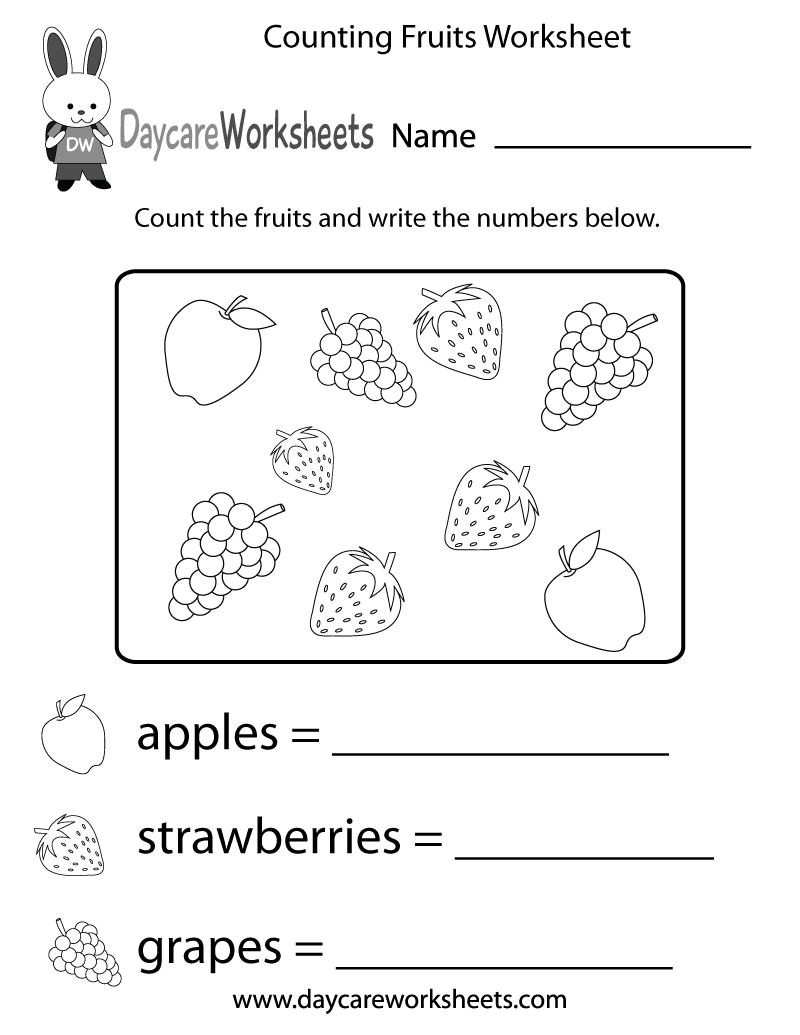 worksheet Printable Counting Worksheets free counting fruits worksheet for preschool