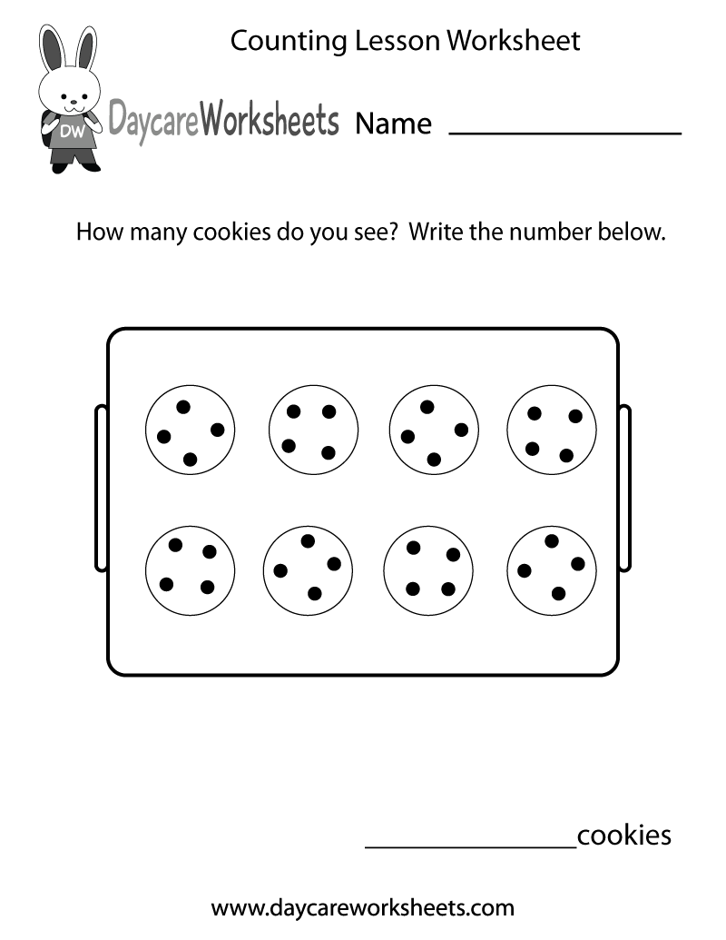 Preschool Counting Lesson Worksheet Printable