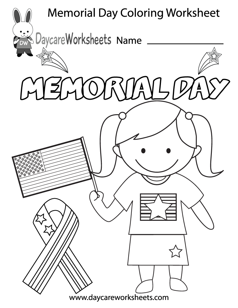 Free Preschool Memorial Day Coloring Worksheet