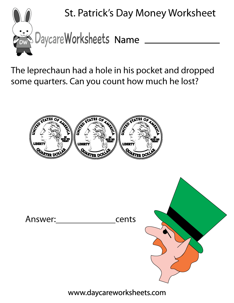 Free Worksheets free printable st patrick day worksheets : Free Preschool St. Patricku0026#39;s Day Money Worksheet