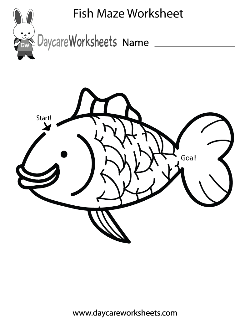 Preschool Fish Maze Worksheet Printable