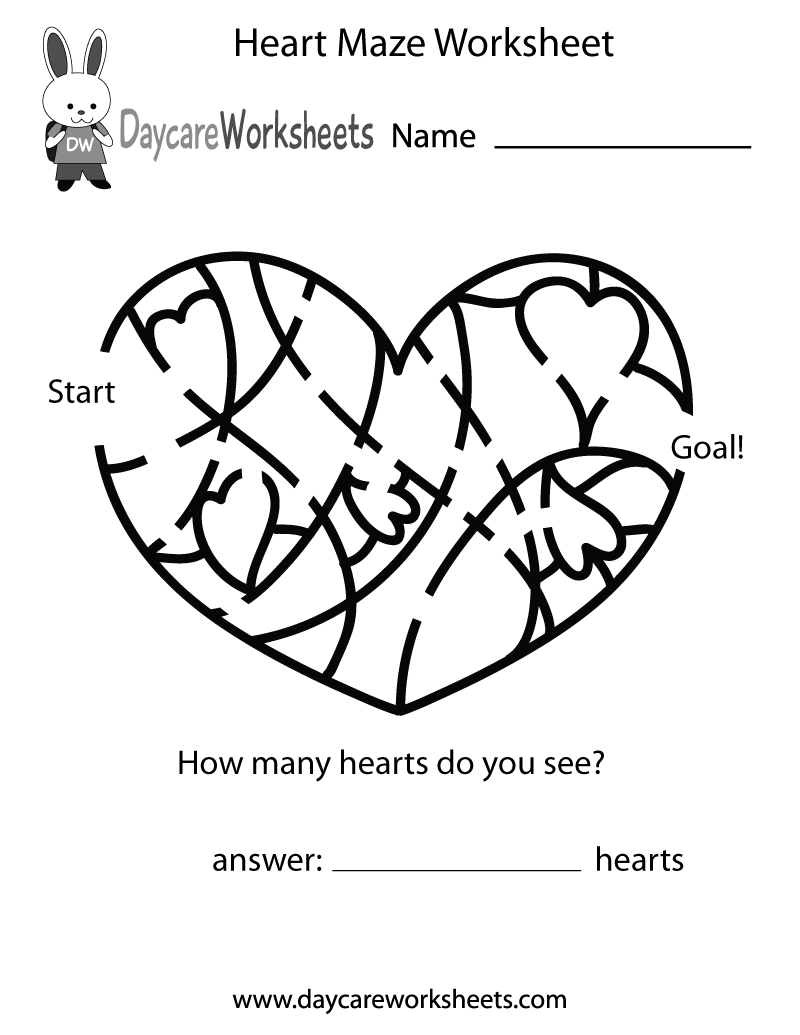 Worksheets Maze Worksheet free preschool heart maze worksheet